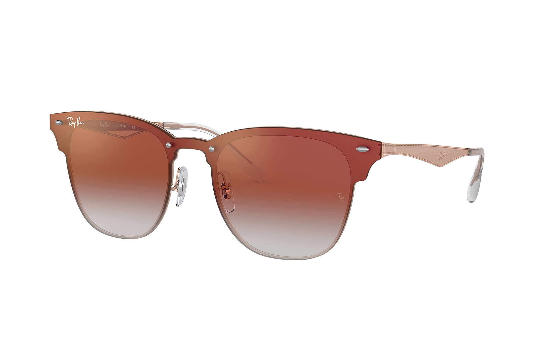 Ray-Ban Blaze Clubmaster RB3576N Bronze-Copper - Steel - Red Lenses ... 75a2fa3b6315