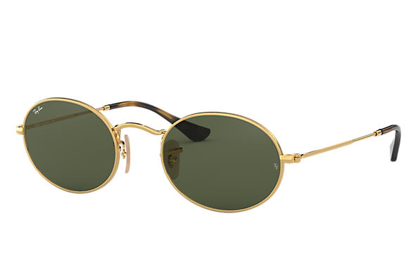 Ray-Ban Sunglasses OVAL FLAT LENSES Polished Gold with Green Classic G-15 lens