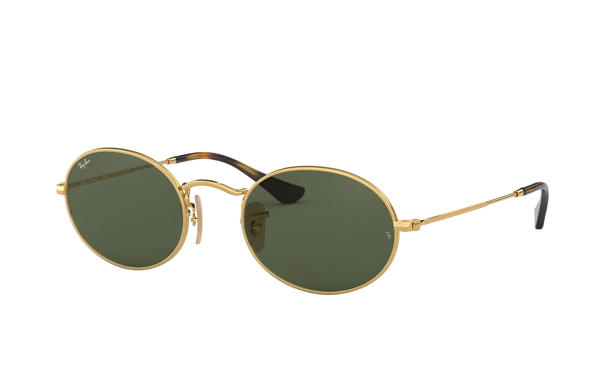 6b4be1850a1f76 Ray-Ban Oval Flat Lenses RB3547N Gold - Metal - Green Lenses ...