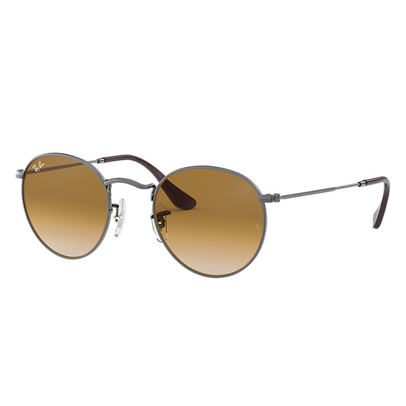 Ray-Ban Round Flat Gunmetal Sunglasses, Brown Lenses