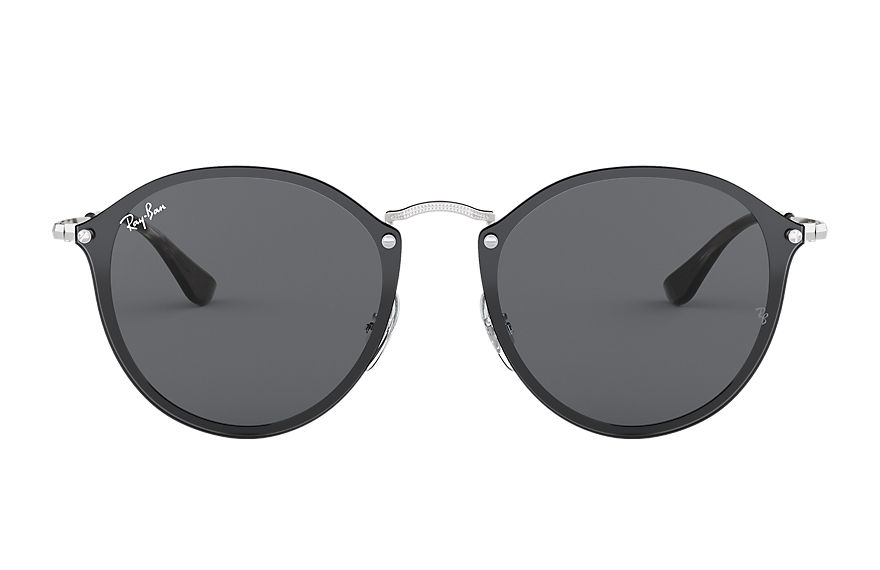 Ray-Ban Sunglasses BLAZE ROUND Silver with Dark Grey Classic lens