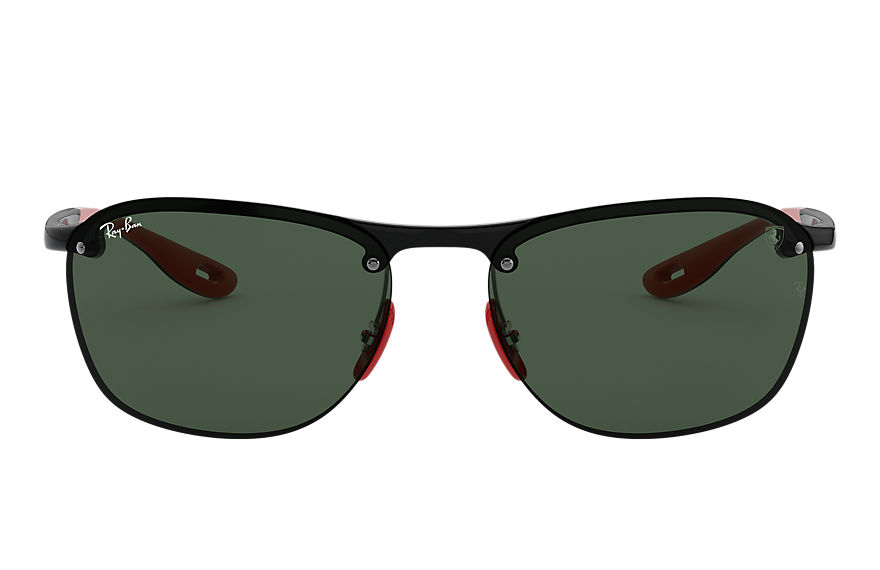 Ray-Ban RB4302M SCUDERIA FERRARI COLLECTION Black with Green Classic lens