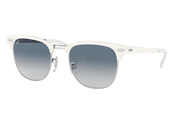 6fe983414f Ray-Ban Clubmaster Metal RB3716 White - Metal - Light Blue Lenses ...