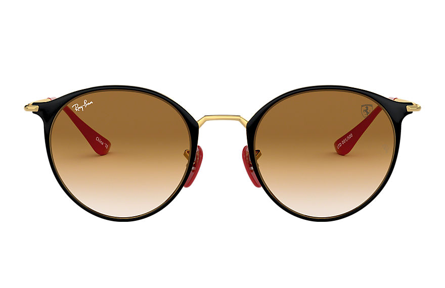 Ray-Ban SCUDERIA FERRARI CHINA LIMITED EDITION Black with Light Brown Gradient lens