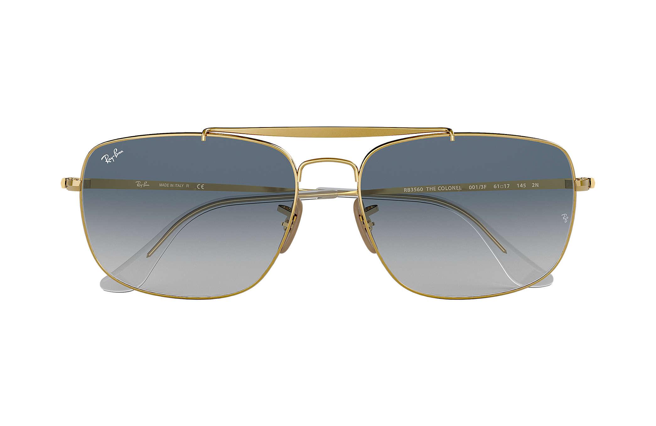 f8cf78ebefa0a Ray-Ban Colonel RB3560 Ouro - Aço - Lentes Azulclaro - 0RB3560001 ...