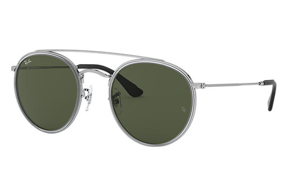Ray-Ban Gafas-de-sol ROUND DOUBLE BRIDGE @COLLECTION Plata con lente Verde Clásica G-15