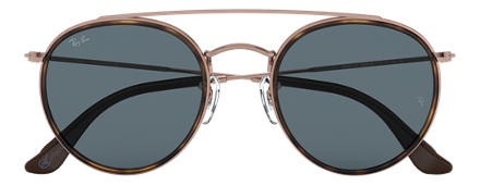 cbff23a3e10 Ray-Ban ROUND DOUBLE BRIDGE  COLLECTION Bronze-Copper with Blue Classic lens
