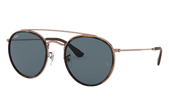 Ray-Ban Sunglasses ROUND DOUBLE BRIDGE @COLLECTION Polished Bronze-Copper with Blue Classic lens