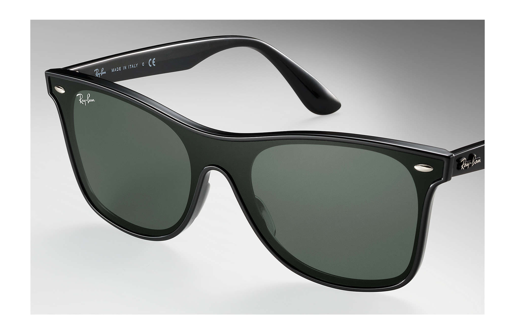 Ray-Ban Blaze Wayfarer RB4440N Black - Nylon - Green Lenses ... 671e8786101