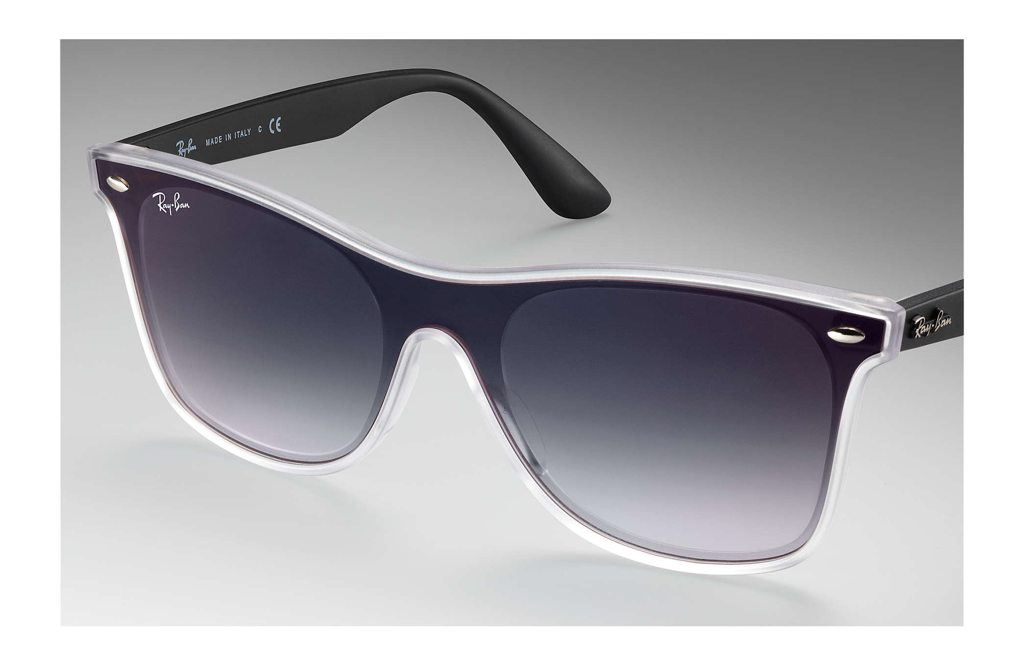 957adc0343aeb Ray-Ban Blaze Wayfarer RB4440N Transparent - Nylon - Grey Lenses ...