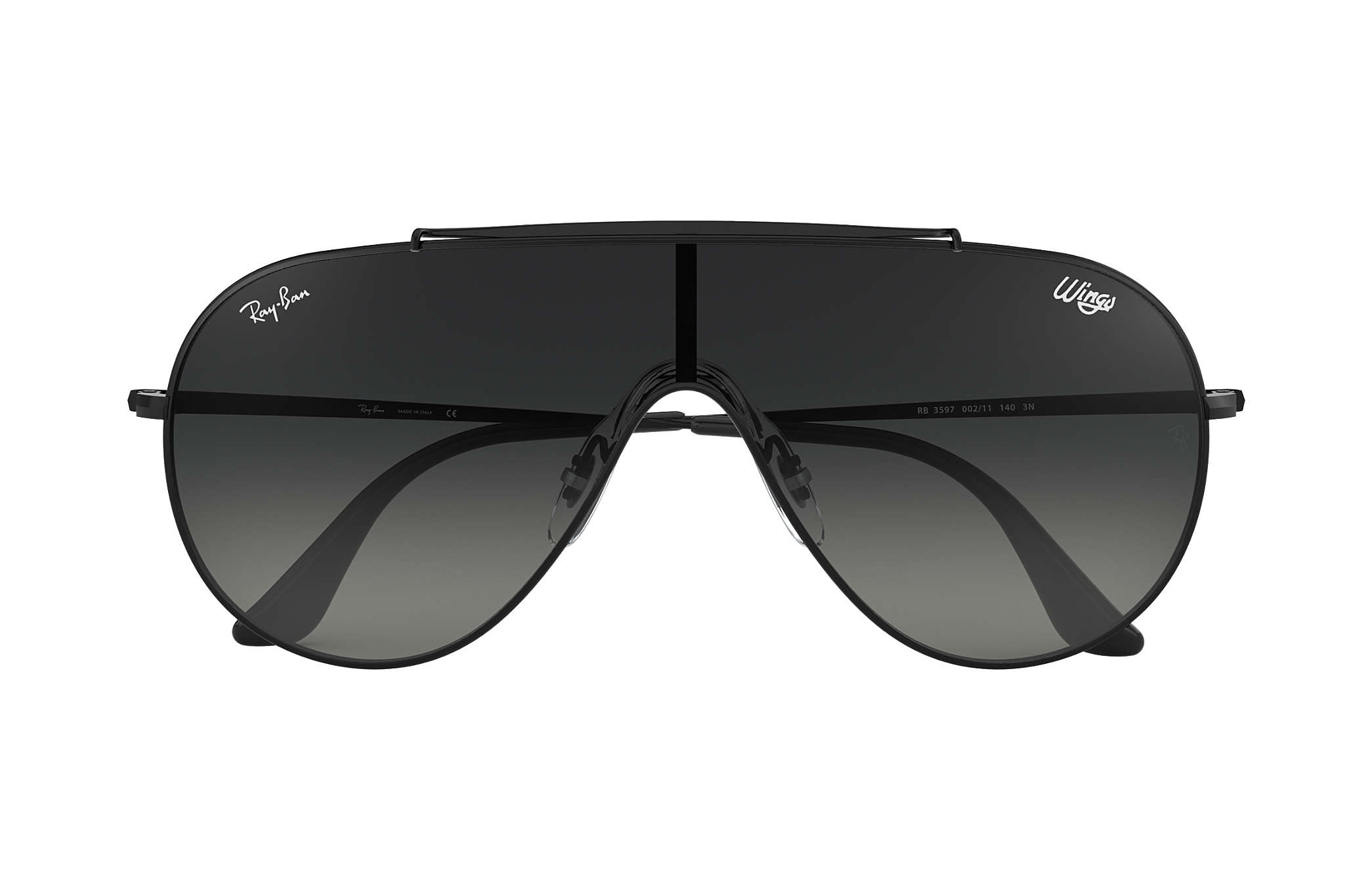 db3c30ac00 Ray-Ban Wings RB3597 Black - Metal - Grey Lenses - 0RB3597002/1133 ...