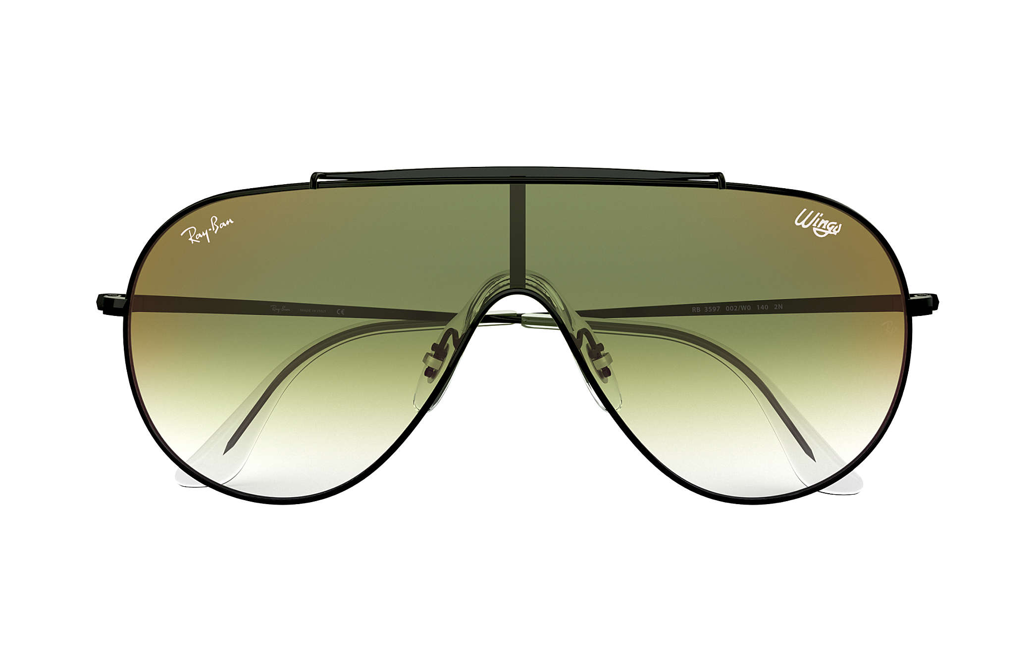 318230e66b30f Ray-Ban Wings RB3597 Black - Metal - Green Lenses - 0RB3597002 W033 ...