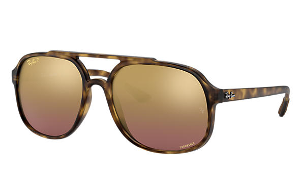 Ray-Ban Sunglasses RB4312CH Tortoise with Purple Mirror Chromance lens