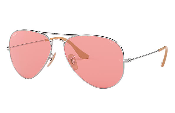 c8147ef0b9 Ray-Ban Aviator Evolve RB3025 Silver - Metal - Pink Lenses ...