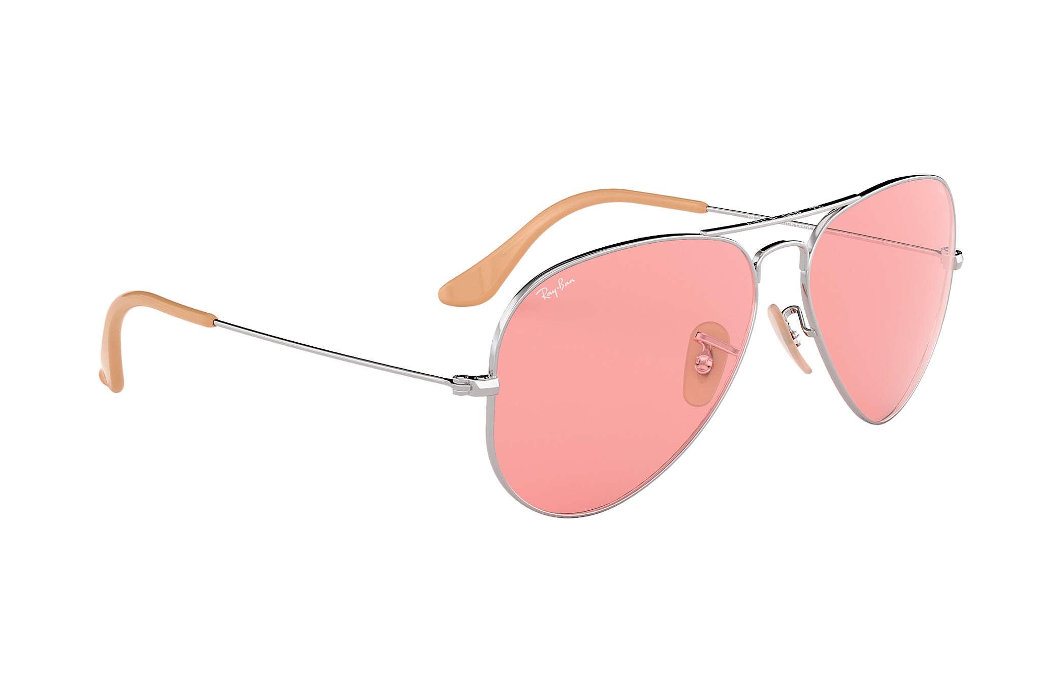 fd396e8640bb7 Ray-Ban Aviator Evolve RB3025 Silver - Metal - Pink Lenses ...