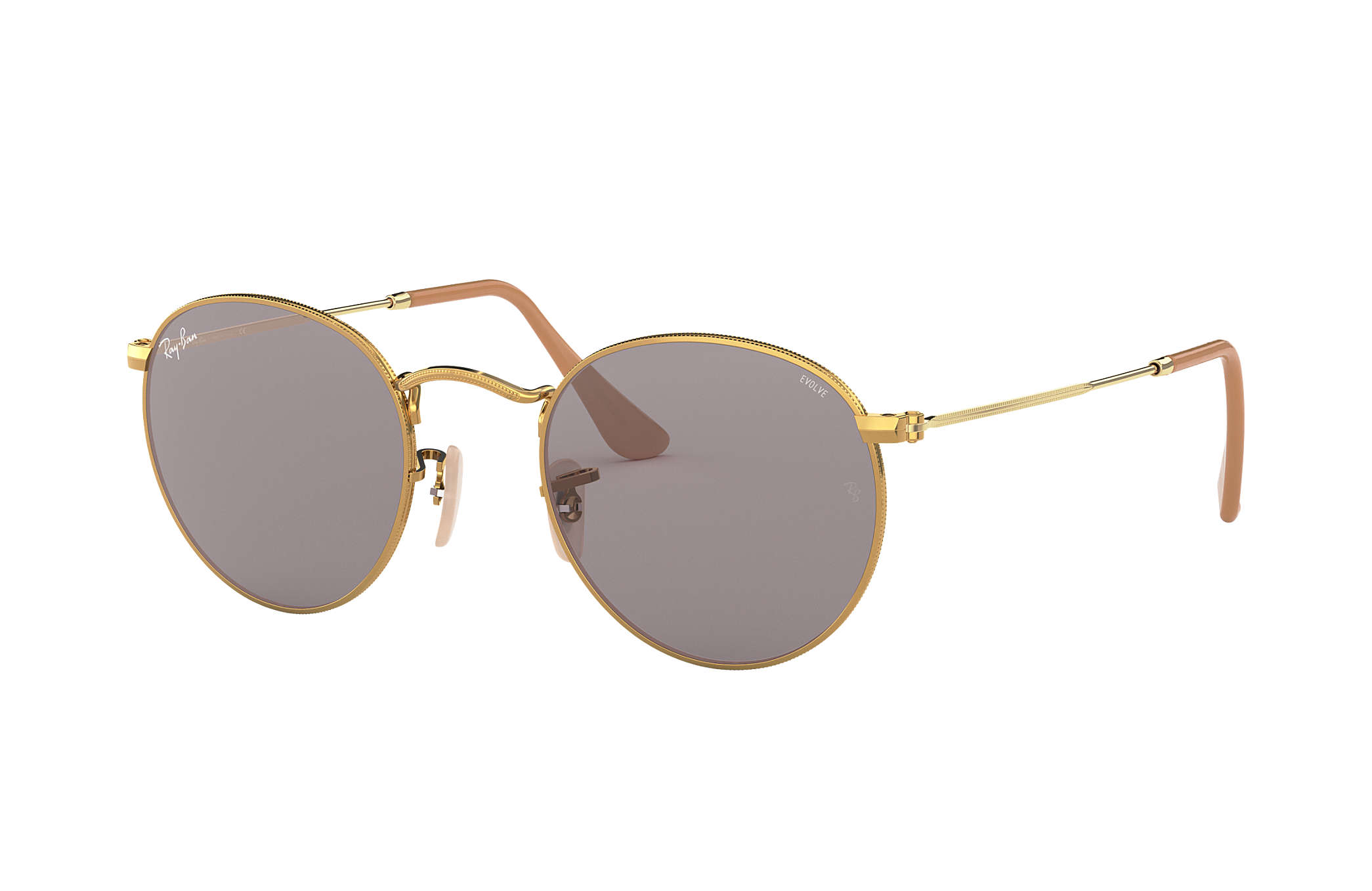 Ray-Ban Round Evolve RB3447 Gold - Metal - Grey Lenses ... 75fcbba147