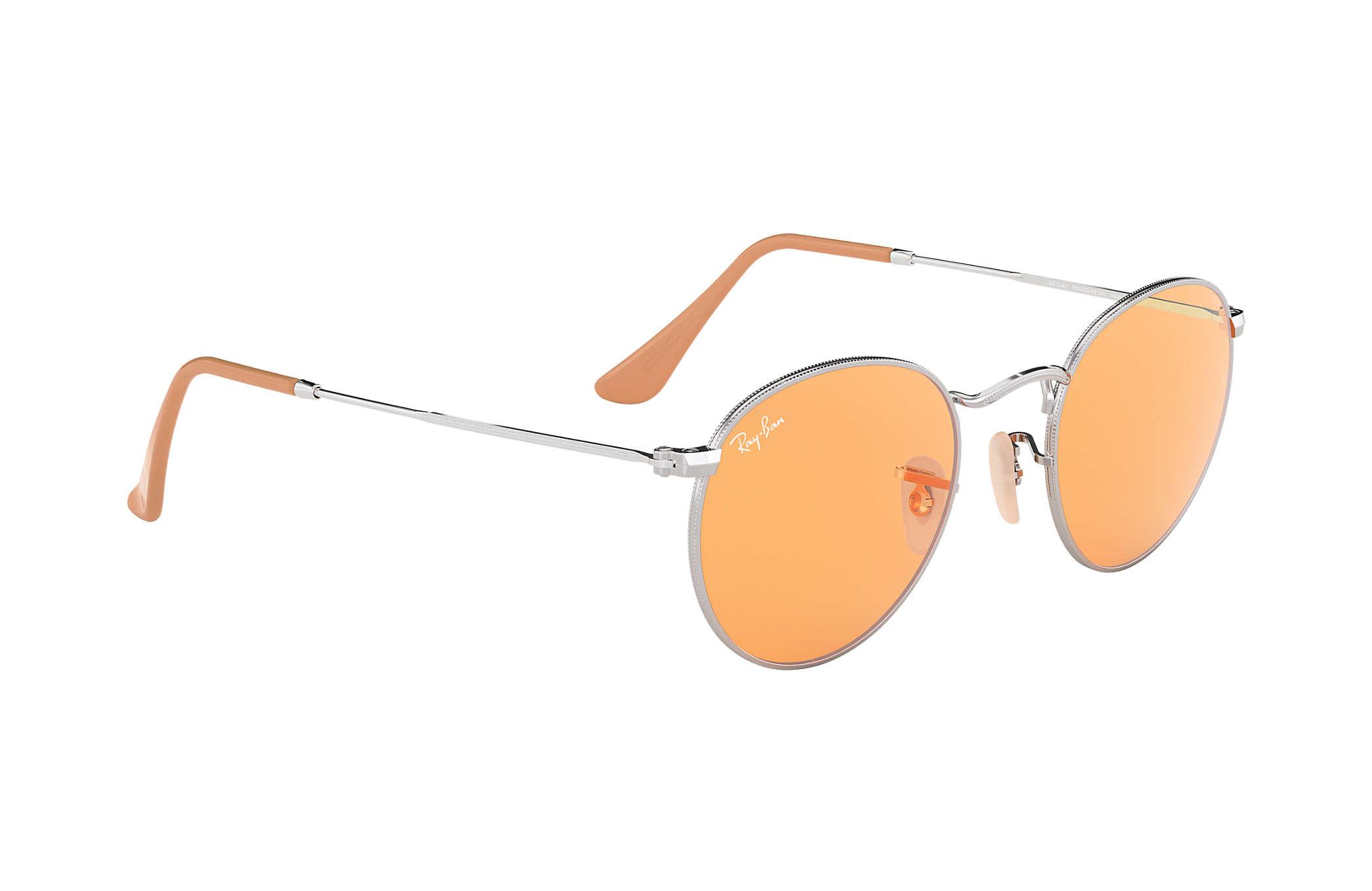 2d37971325d46b Ray-Ban Round Evolve RB3447 Silver - Metal - Orange Lenses ...