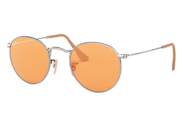 8e34fd948a Ray-Ban Round Evolve RB3447 Silver - Metal - Orange Lenses ...