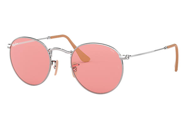 Ray-Ban Sunglasses ROUND WASHED EVOLVE Silver with Pink Photochromic Evolve lens