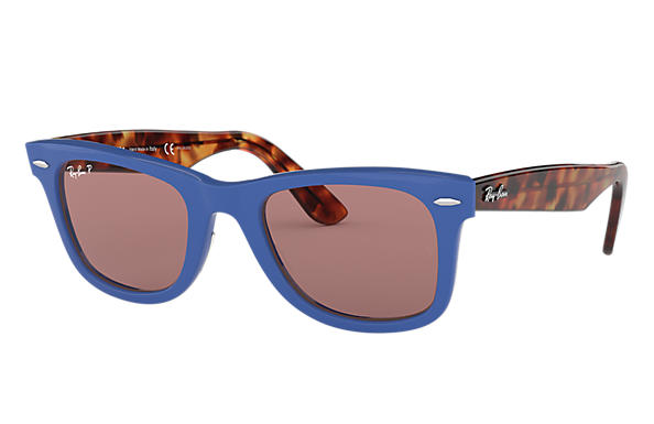 7a4c47be21 Ray-Ban Wayfarer Pop RB2140 Azul - Acetato - Lentes polarizadas Roxo ...