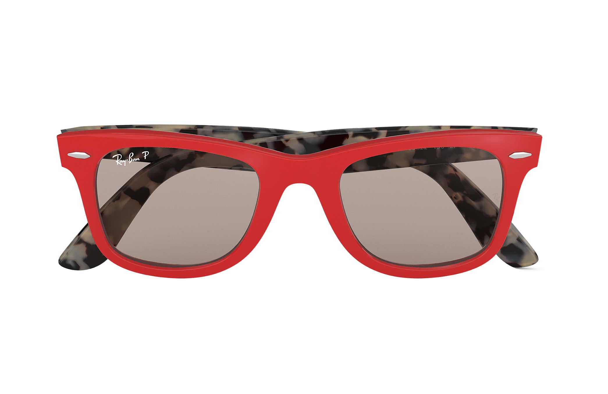 eb80c1d2ddf6 Ray-Ban Wayfarer Pop RB2140 Red - Acetate - Grey Polarized Lenses ...
