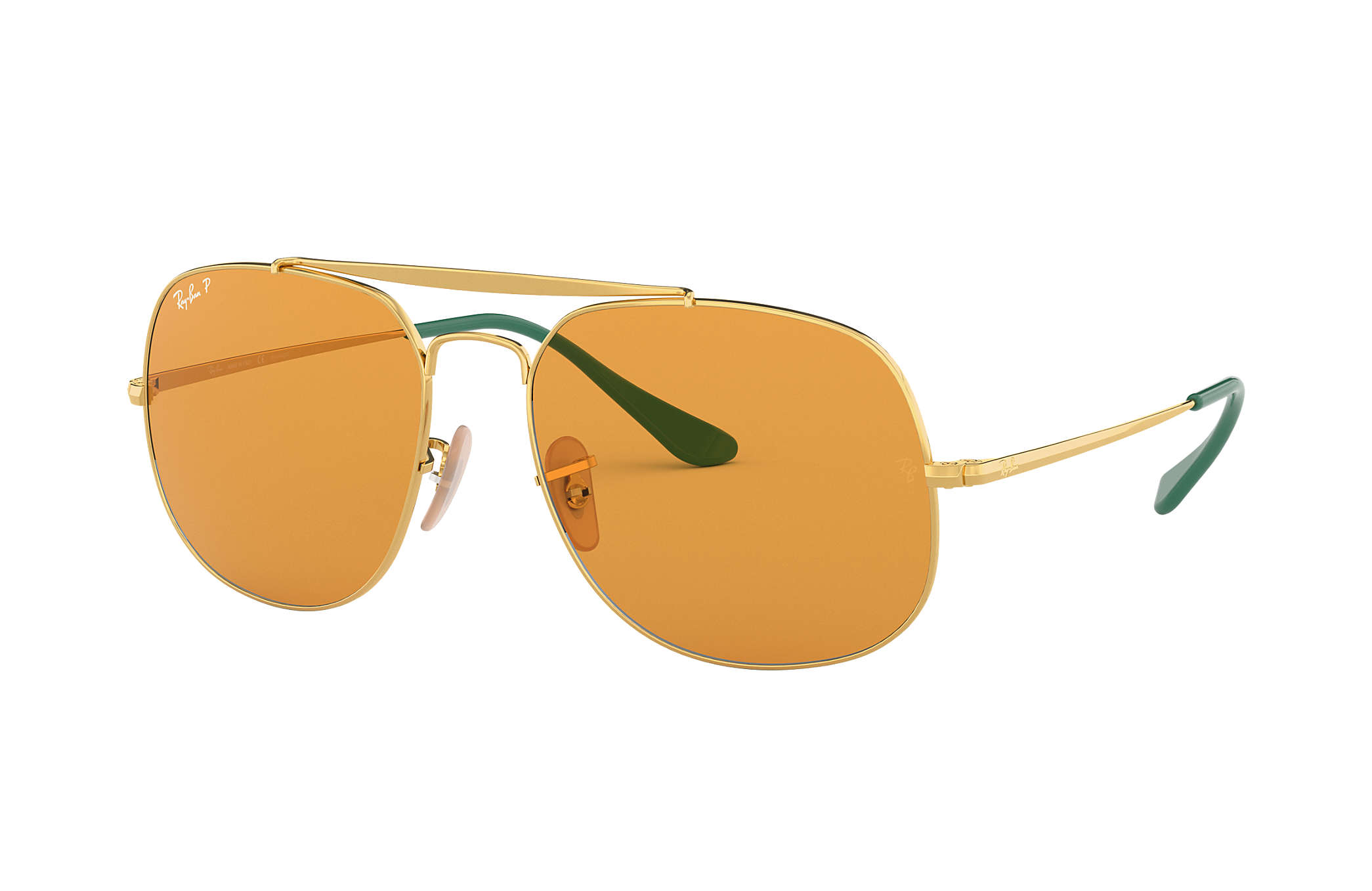 01444991ab Ray-Ban General Pop RB3561 Gold - Metal - Yellow Polarized Lenses ...