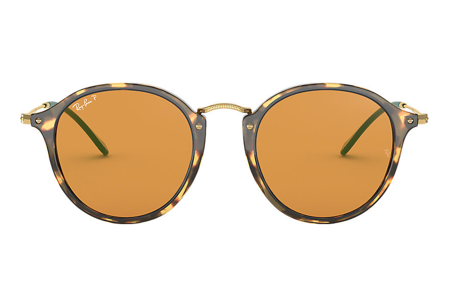 Ray-Ban Sunglasses ROUND FLECK POP Tortoise with Yellow Classic lens