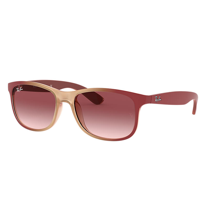 Image of Ray-Ban Andy Red Sunglasses, Pink Lenses - Rb4202