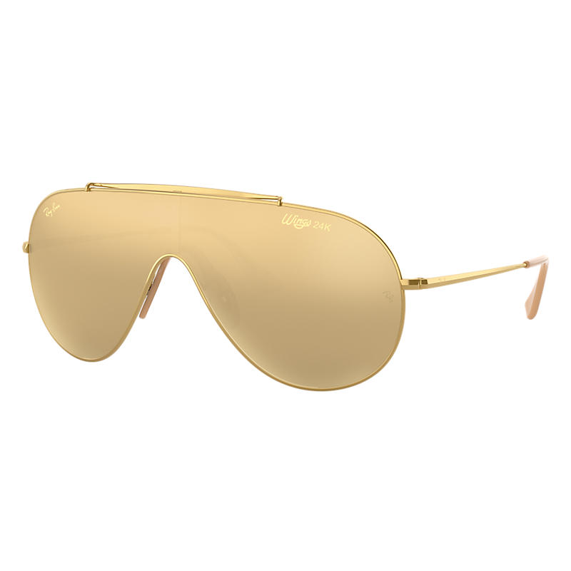 Image of Ray-Ban Gold en Wings Gold Sunglasses Sunglasses, Yellow Lenses - Rb3597k