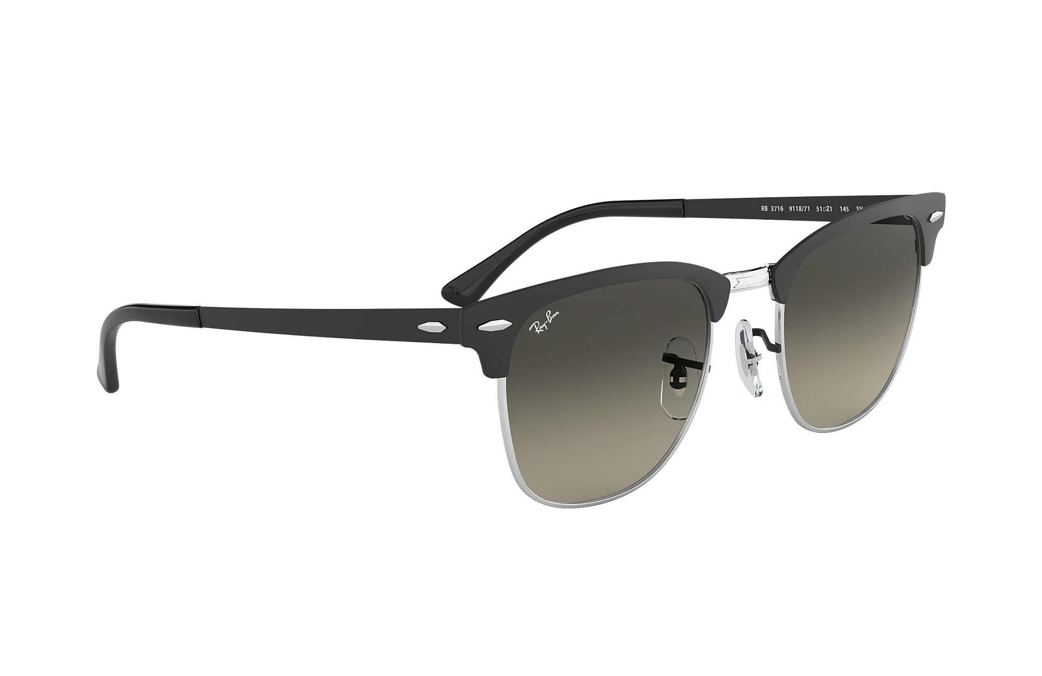 afb3d1e7dbf Ray-Ban Clubmaster Metal RB3716 Black - Nylon - Grey Lenses ...
