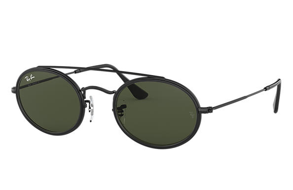 3f4a422c12 Ray-Ban Oval Double Bridge RB3847N Gold - Metal - Green Lenses ...