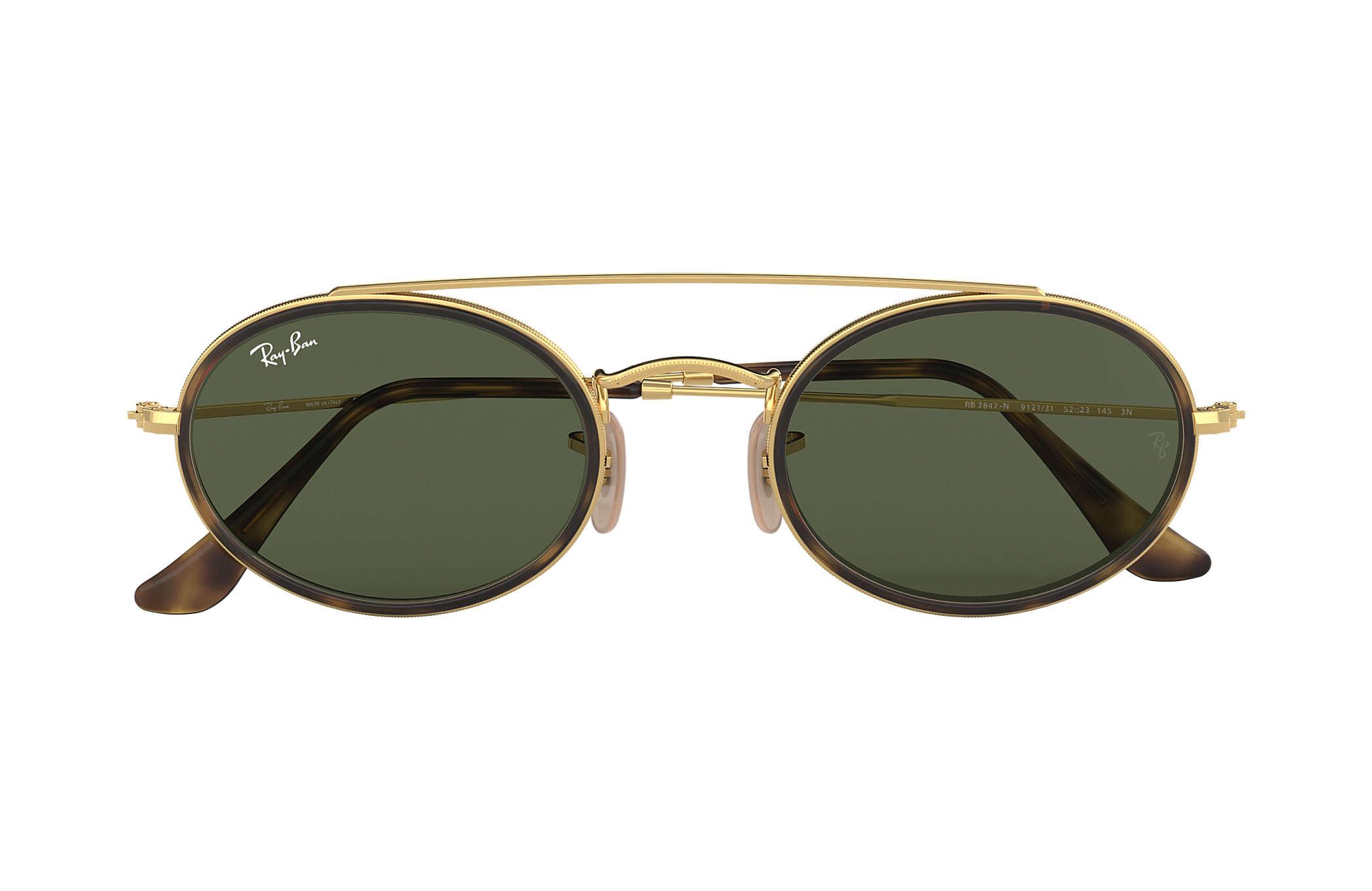 d667492abdc Ray-Ban Oval Double Bridge RB3847N Gold - Metal - Green Lenses ...
