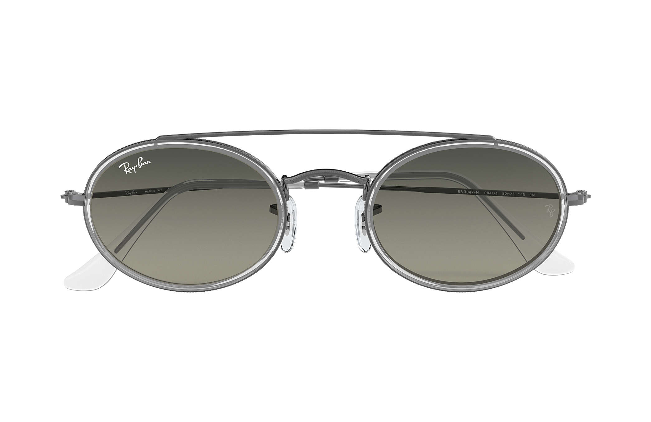 ff6544a084 Ray-Ban Oval Double Bridge RB3847N Gunmetal - Metal - Grey Lenses ...