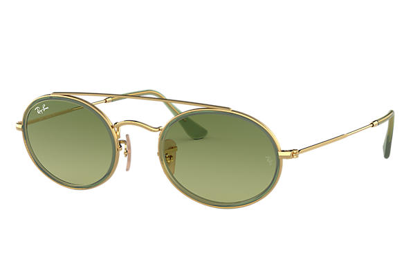 Ray-Ban Sunglasses OVAL DOUBLE BRIDGE Gold with Green Gradient lens