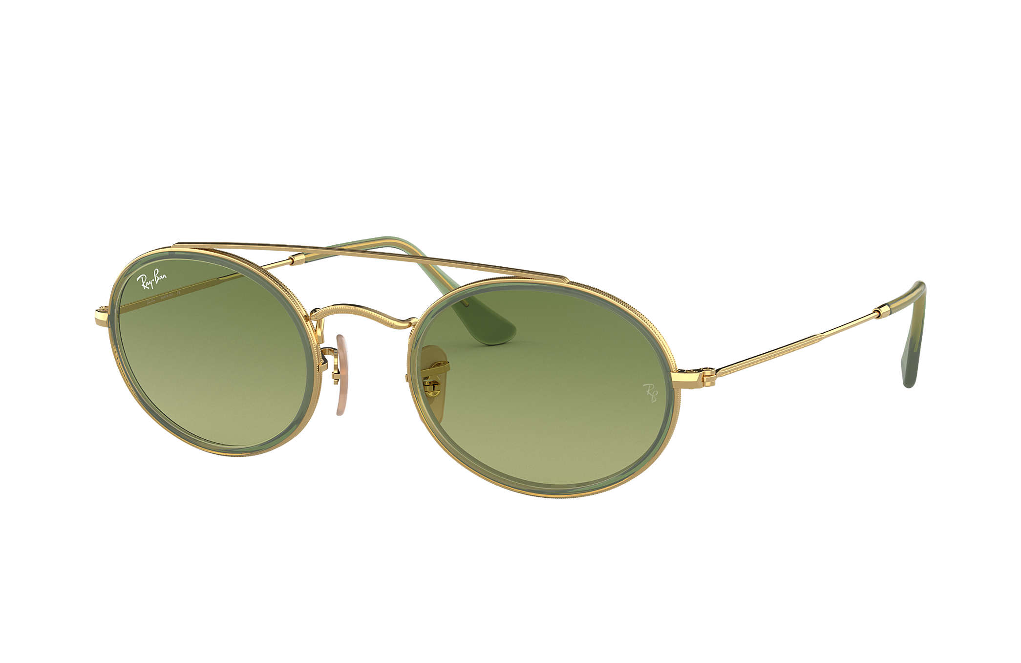 ee3804123d Ray-Ban Oval Double Bridge RB3847N Gold - Metal - Green Lenses ...