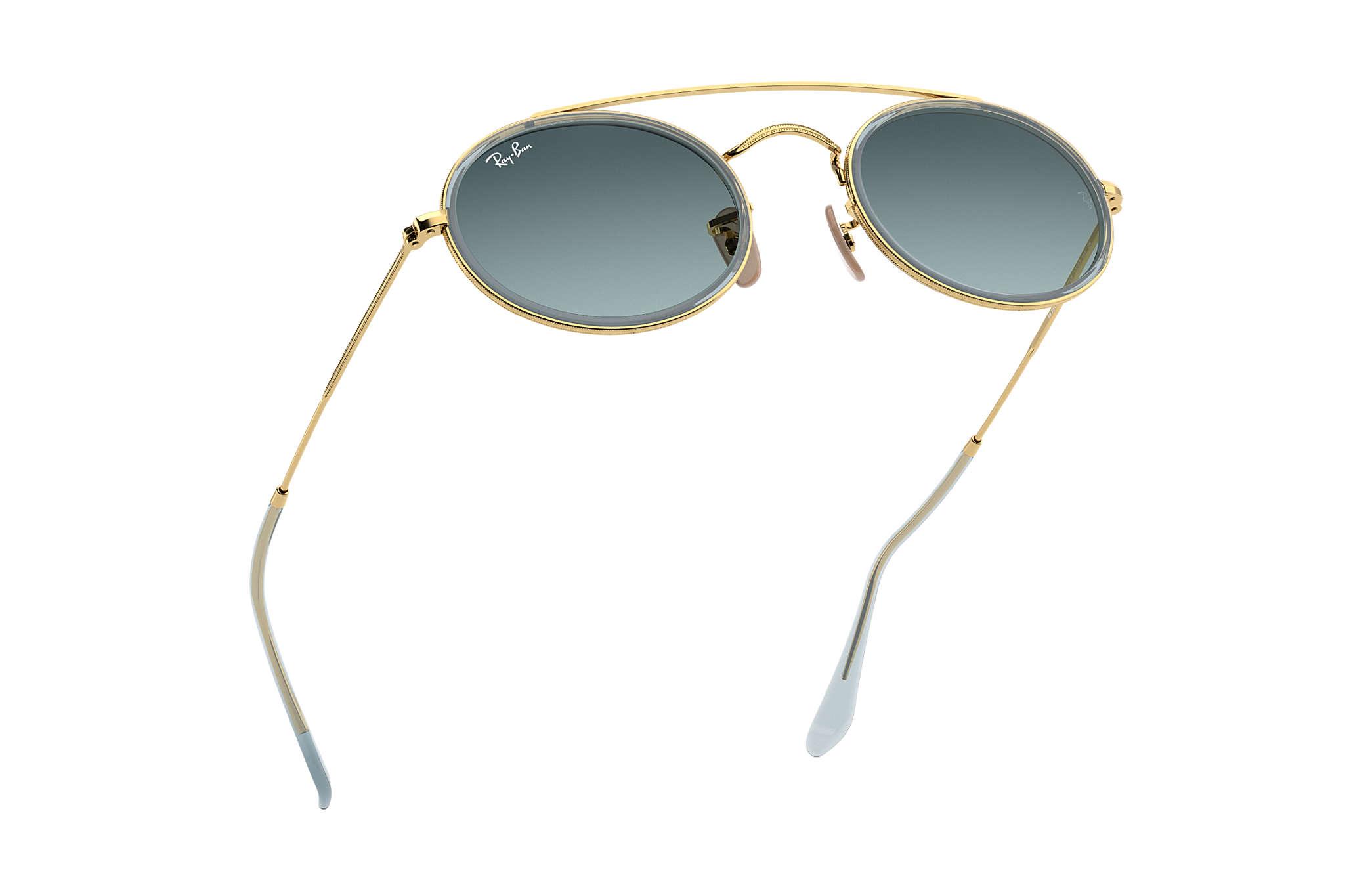 18b2f5b9d9f Ray-Ban Oval Double Bridge RB3847N Gold - Metal - Blue Lenses ...