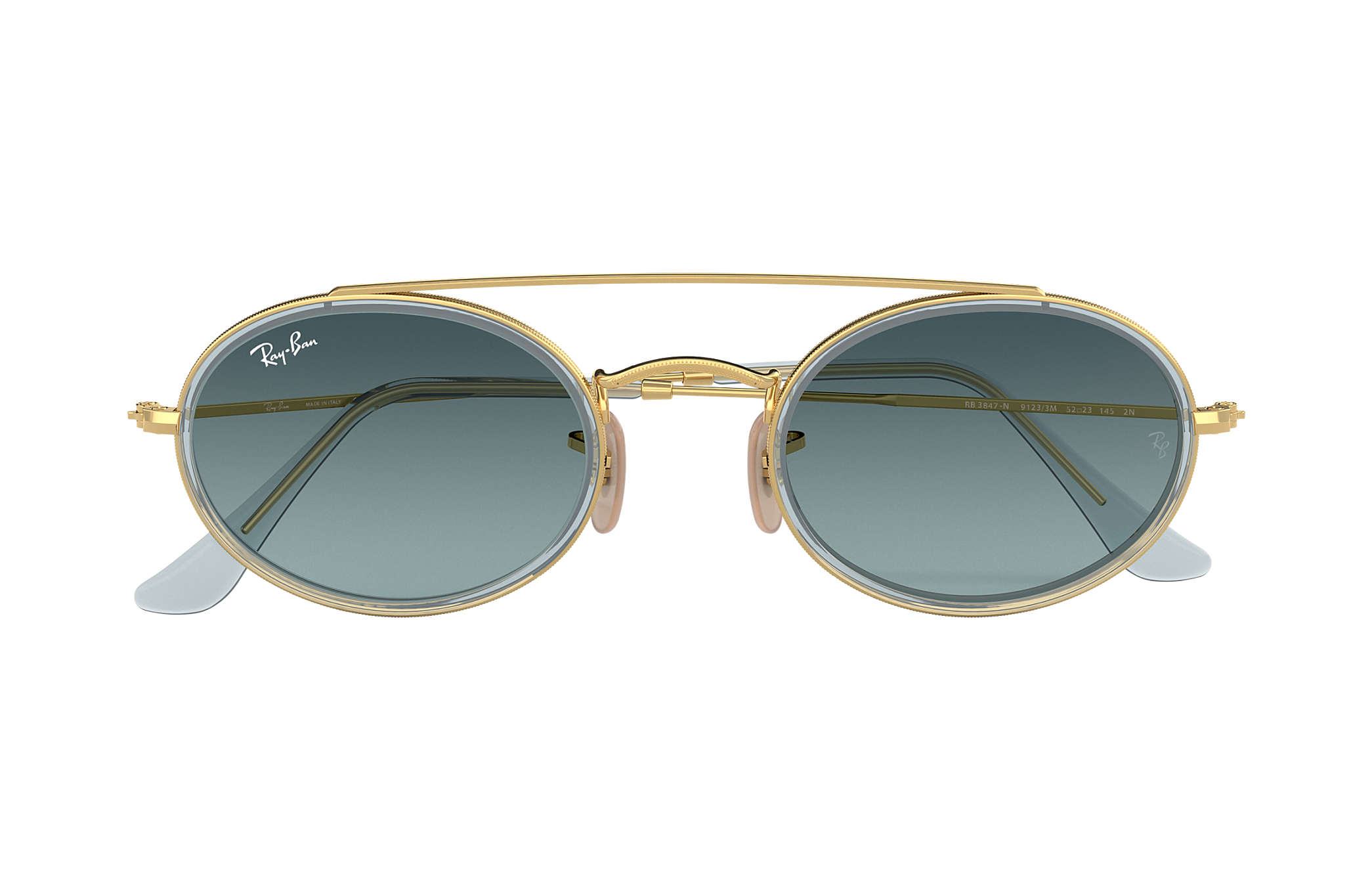 013287ad00 Ray-Ban Oval Double Bridge RB3847N Gold - Metal - Blue Lenses ...