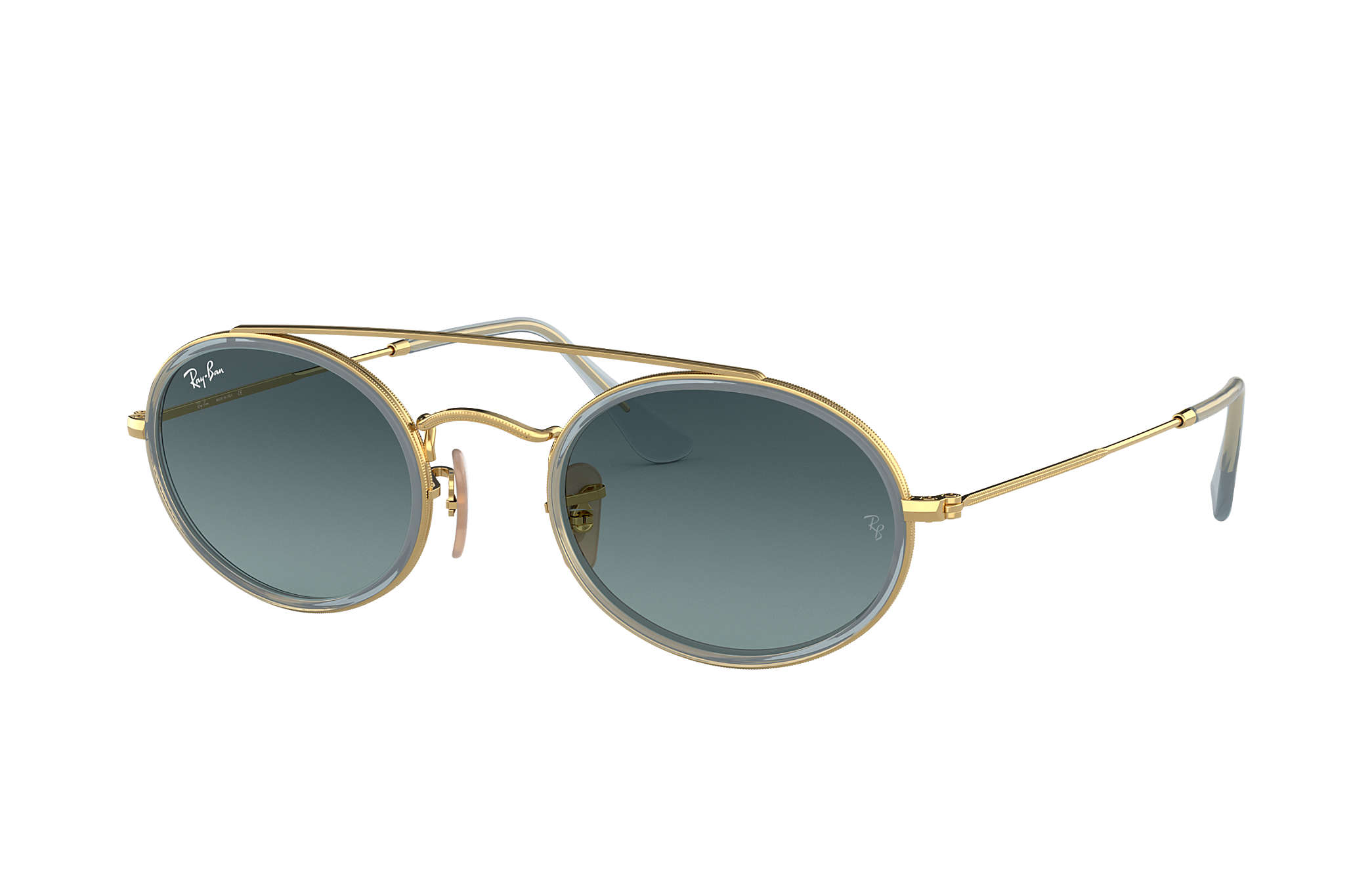8ae82845ee Ray-Ban Oval Double Bridge RB3847N Gold - Metal - Blue Lenses ...