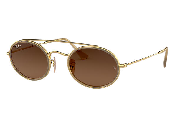 Ray-Ban Sunglasses OVAL DOUBLE BRIDGE Gold with Brown Gradient lens