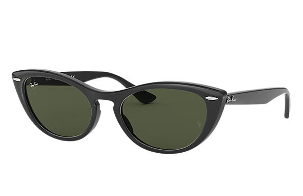 Ray-Ban Sunglasses NINA Polished Black with Green Classic G-15 lens