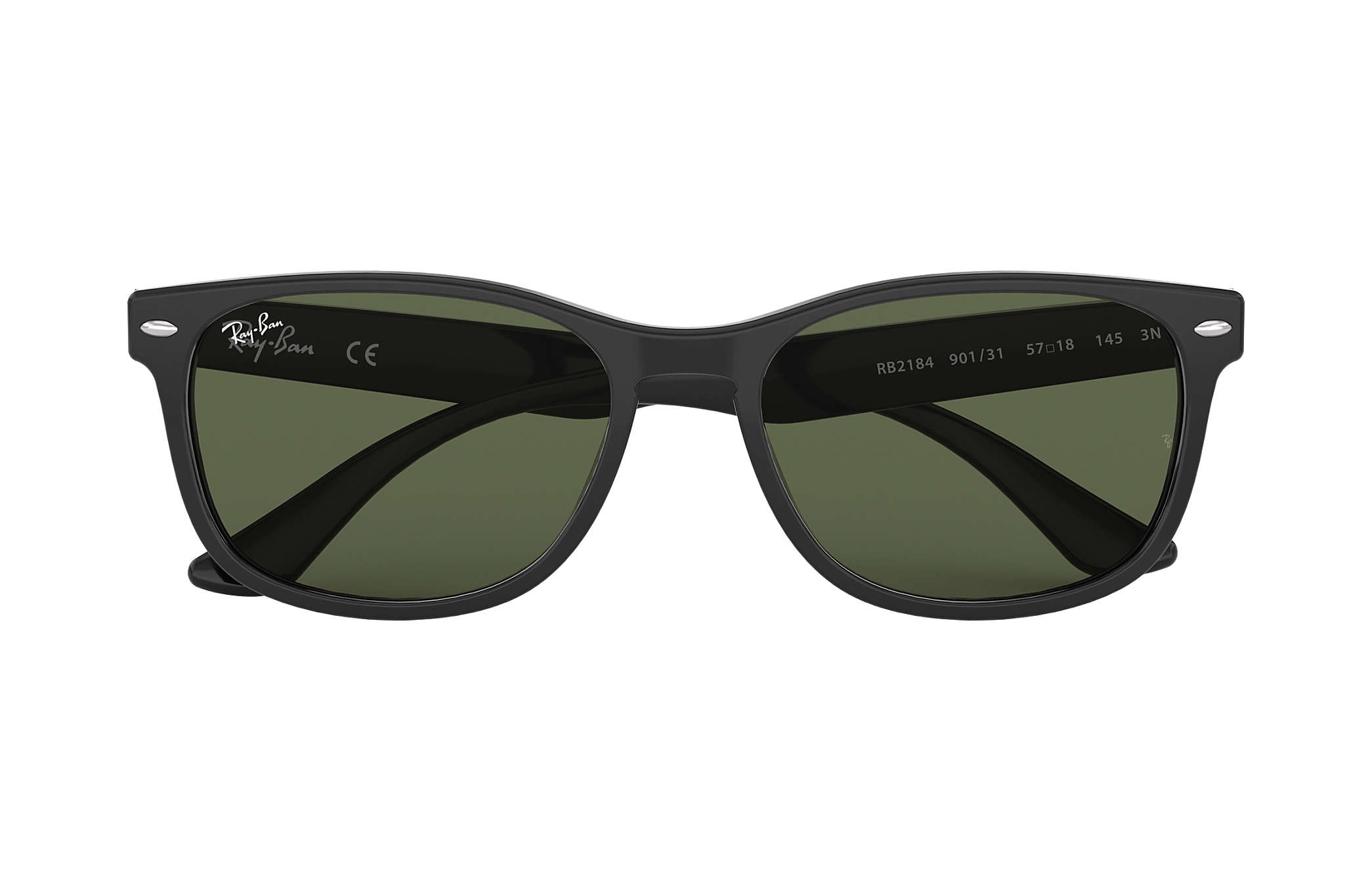 b68496030dd Ray-Ban RB2184 Black - Acetate - Green Lenses - 0RB2184901 3157 ...