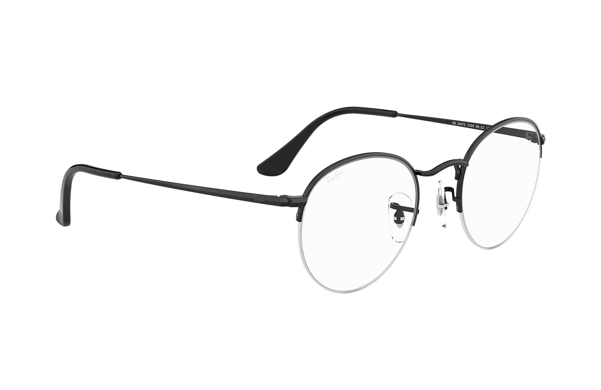 04a9e8d477b1a Óculos de grau Ray-Ban Round Gaze RB3947V Preto - Metal ...