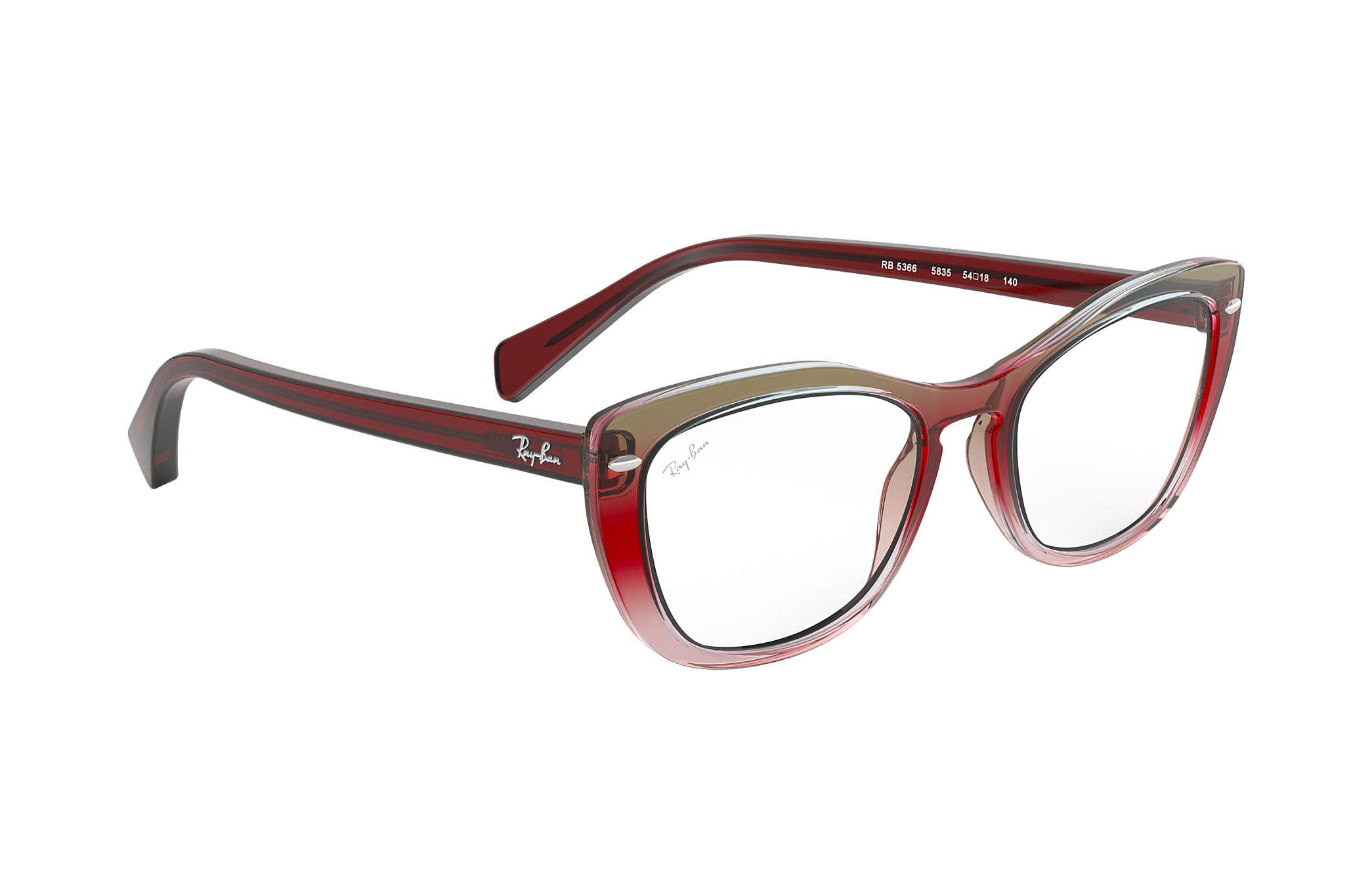 fa4332854f905 Ray-Ban prescription glasses RB5366 Trigradient Burgundy and Grey ...