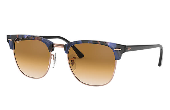 Ray-Ban 0RB3016-CLUBMASTER FLECK Spotted Brown and Blue,Tortoise; Black SUN