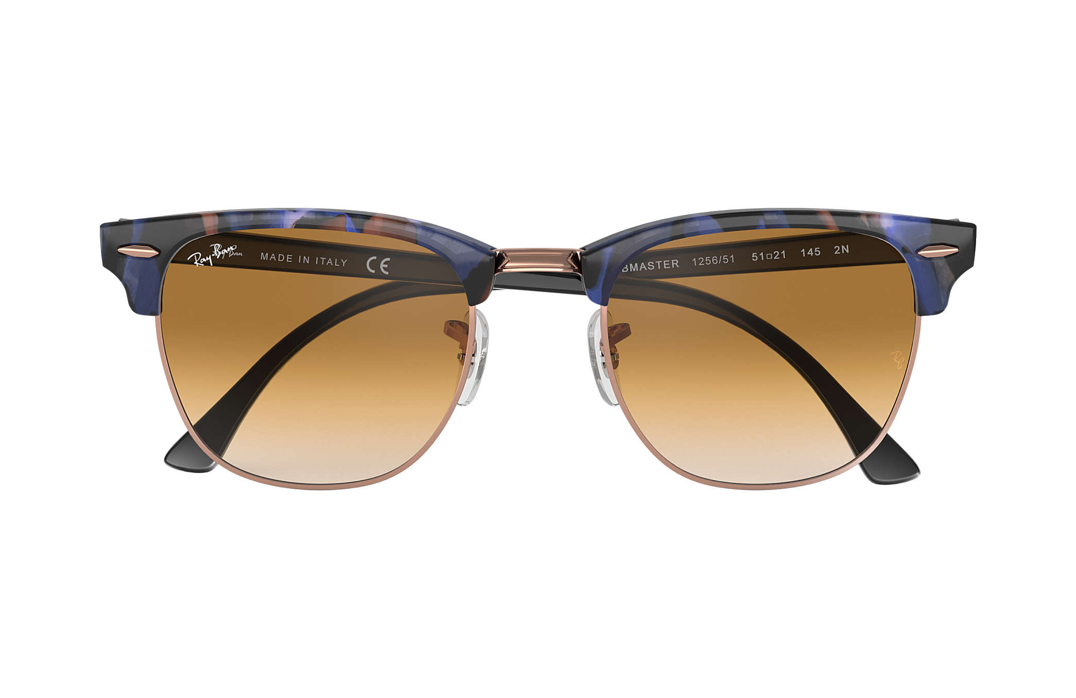 49e17c6260fc7 Ray-Ban Clubmaster Fleck RB3016 Spotted Brown and Blue - Acetate ...