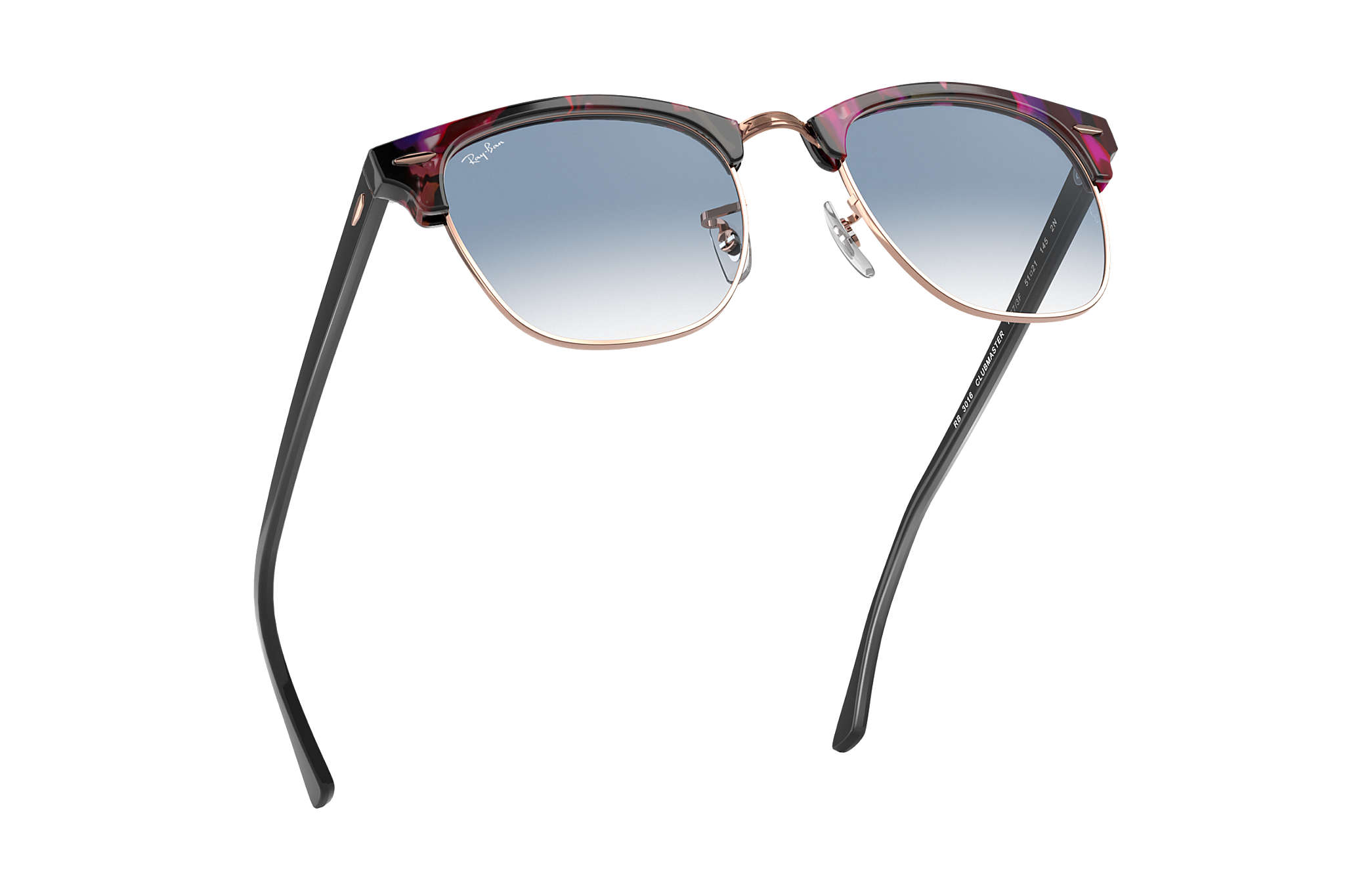 f2e863fe229c2 Ray-Ban Clubmaster Fleck RB3016 Spotted Grey and Violet - Acetate ...