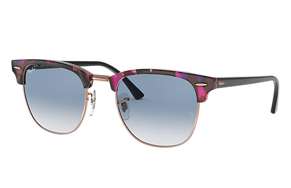 Ray-Ban 0RB3016-CLUBMASTER FLECK Spotted Grey and Violet,Tortoise; Black SUN