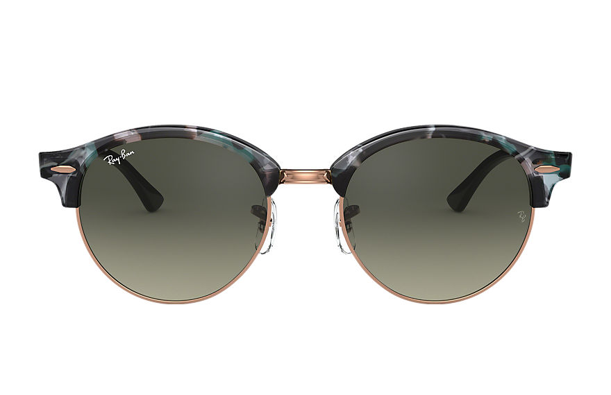 Ray-Ban Sunglasses CLUBROUND FLECK Spotted Grey and Green with Grey Gradient lens