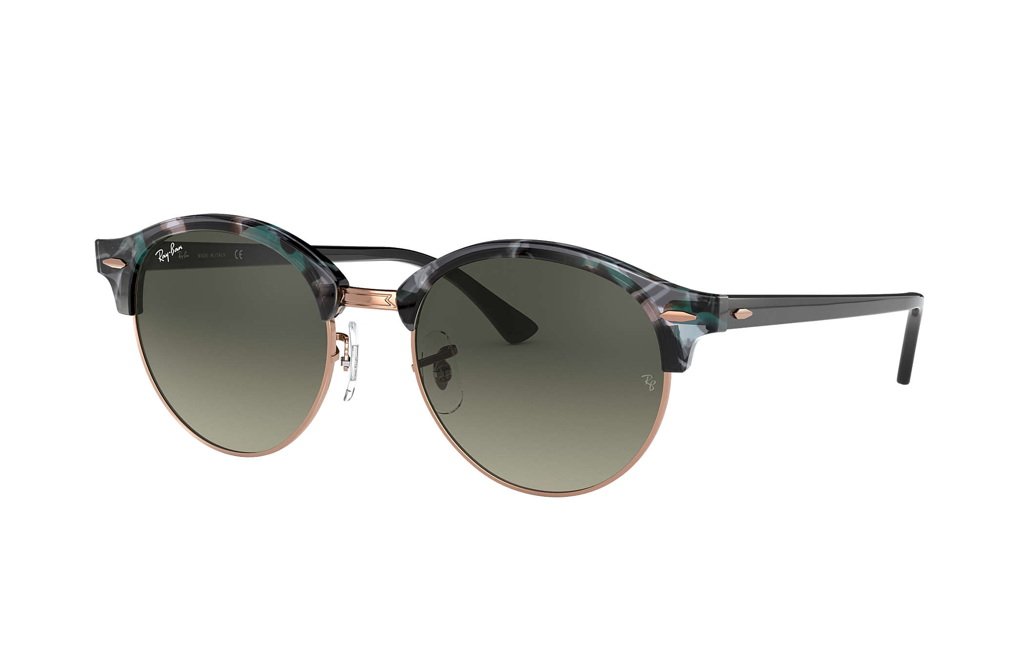 24a7a567652 Ray-Ban Clubround Fleck RB4246 Spotted Grey and Green - Acetate ...