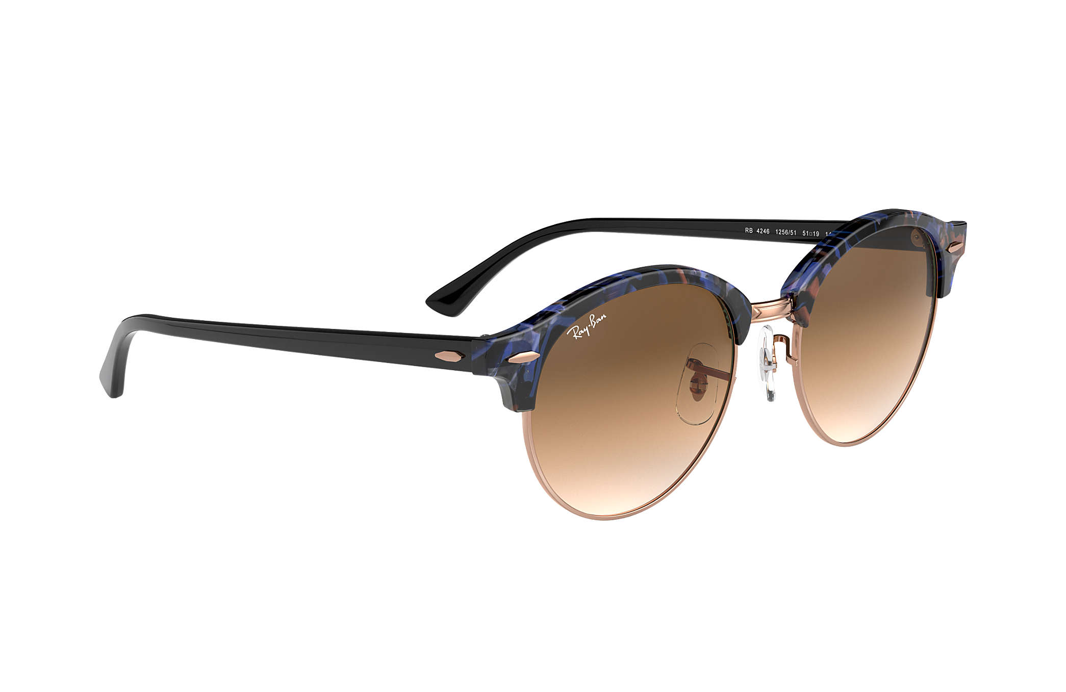 2c5aa06d9e54d Ray-Ban Clubround Fleck RB4246 Spotted Brown and Blue - Acetate ...